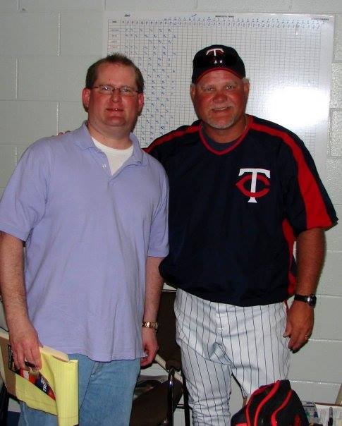 The Christian Chronicle's Bobby Ross Jr. with Twins manager Ron Gardenhire.