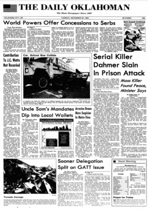 Front page of The Oklahoman on Nov. 29, 1994.