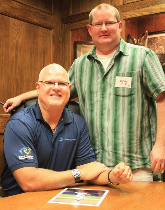 """""""The Rookie"""" Jim Morris with The Christian Chronicle's Bobby Ross Jr."""