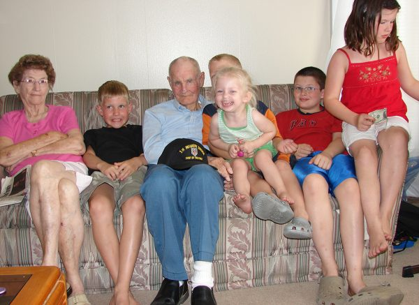 Lloyd and Margaret Ross with some of their great-grandchidren.