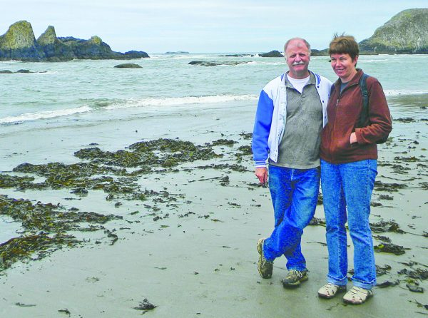 Brian Leavitt, minister of the Lobster Valley church and his wife, Chris, visit the southern Oregon coast.