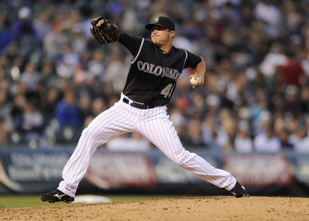 Rex Brothers delivers a pitch for the Colorado Rockies in 2013.