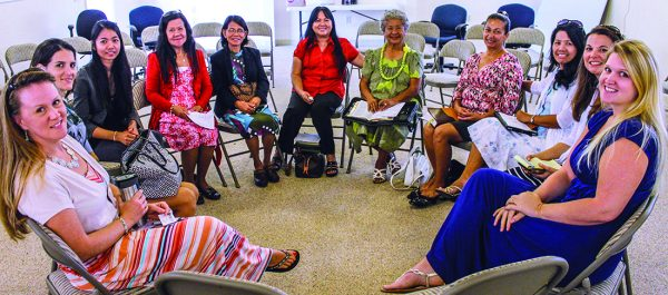 Sharing concerns and studying the Bible in a Sunday class are Jenni Logsdon, Priscilla Mathison, Joy Corpuz, Velma Fontanilla, Becky Braga, Maria Williams, Espy Garcia, Doriann Yuson, Ruth Byrne, Rebecca Rudder and Mandy Smith.