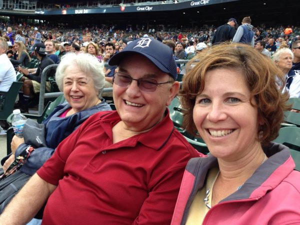 Janet Edwards, Doug Edwards and Julie Maher watch their hometown Detroit Tigers.