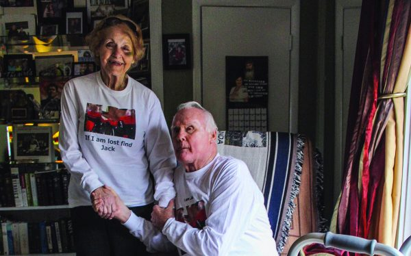 Jack and Frances Zorn, then married for 58 years, wear matching T-shirts as they pose for a photo at their home in Sylacauga, Ala., in 2015.