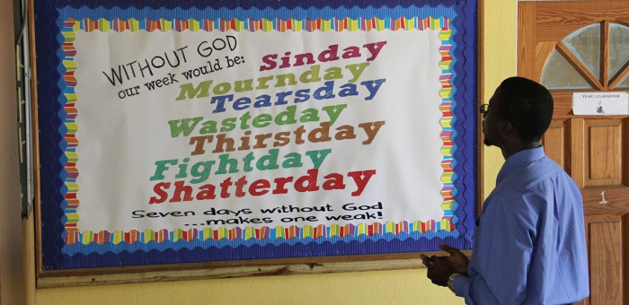 A sign at the Mona Church of Christ in Kingston