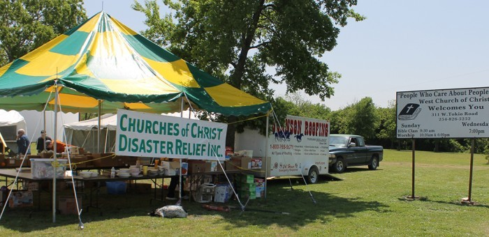 Christians from near and far donated goods under a tent outside the West Church of Christ. Area congregations and national ministries are helping meet ... & Explosion rocks Texas church | The Christian Chronicle
