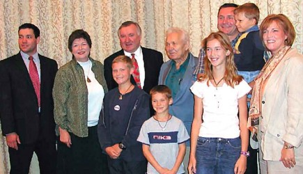 Walenty Dawidow and his family in 2005.