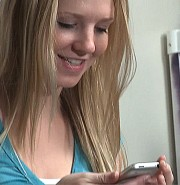 "Abilene Christian student Jenavene Hester demonstrates the features of her university's iPhone network in a 17-minute film titled ""Connected."" – www.acu.edu/connected"