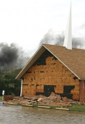 Winds estimated at 110 mph and driving rain peeled bricks from the exterior of this Galveston church building when Hurricane Ike made landfall in this barrier island community on Saturday. Churches of Christ were hit especially hard by Ike