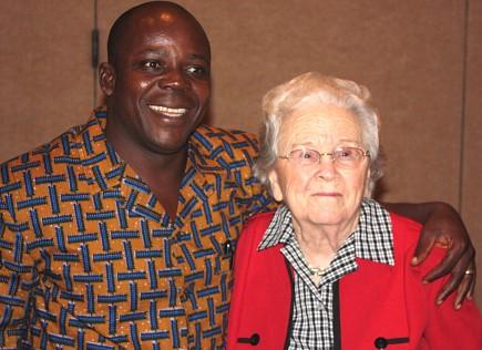 Sylvester Imogoh hugs Naomi Hunt