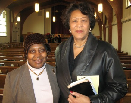 Obama Supporters Emma Moten and Bernice Watts attend the East Capitol Street church in Washington