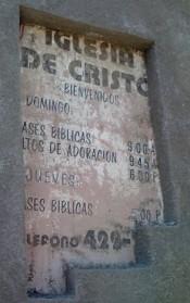 A sign at the Miramar church in Tijuana