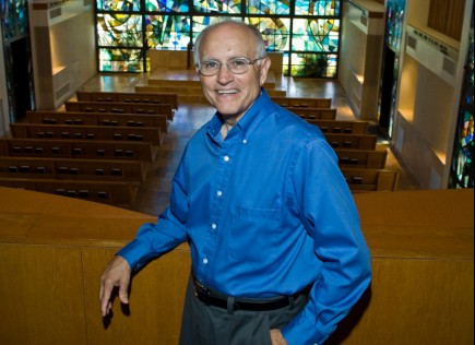 Jerry Rushford stands in Stauffer Chapel at Pepperdine University. – (photo by Ron Hall)