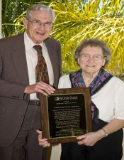 Everett and Nancy Ferguson display the Christian Service Award. – (photo by Ron Hall)
