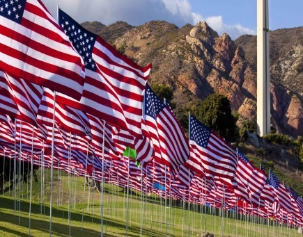 Thousands of American flags fly on the lawn of Pepperdine University's campus in Malibu