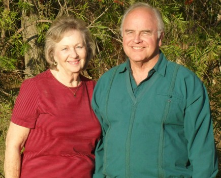 Longtime missionaries Al and Donna Horne pose outside their home in Benoni