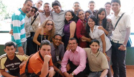 Youths in South America stop for a photo during the fourth Colombian National Youth Camp in Medellin