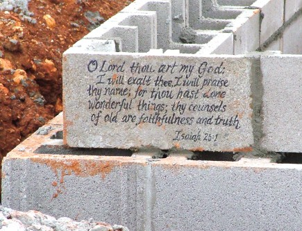 The recently laid cornerstone for Clarksville Christian School in Tennessee. – PHOTO PROVIDED BY MICHELLE ROBERTS