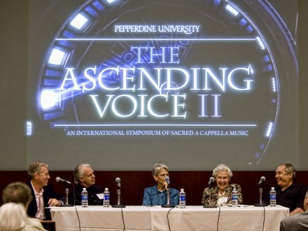 "Experts discuss the future of congregational singing at ""The Ascending Voice II"" at Pepperdine University. Pictured are Darryl Tippens"