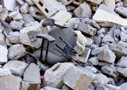A battered office chair sits among the remains of the Delmas 28 Church of Christ in Port-au-Prince after the Jan. 12