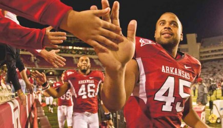 "Church member D.J. Williams will leave the University of Arkansas ""as the best tight end in school history"