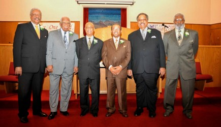 Los Angeles Bible College honored these six ministers. Pictured are