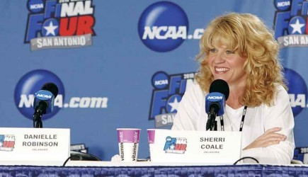 Sherri Coale talks to media at the 2010 Women's Final Four in San Antonio. – PHOTO PROVIDED BY THE UNIVERSITY OF OKLAHOMA