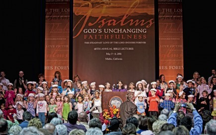 Children of attendees take the stage to sing during the recent 68th annual Pepperdine University Bible Lectures in Malibu