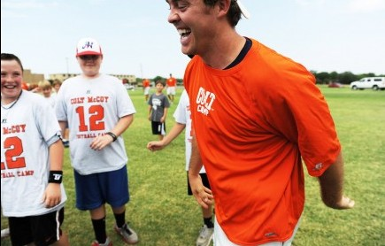 """Cleveland Browns quarterback Colt McCoy keeps things lighthearted during his recent football camp at Abilene Christian University in Texas. The Church of Christ member and former University of Texas star wowed more than 100 young campers. McCoy told the Abilene Reporter-News he wanted to teach the campers not only football fundamentals but also about """"the second aspect of playing football — character development."""" – PHOTO BY VICTOR CRISTALES"""
