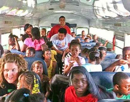 Children and volunteers in Homestead