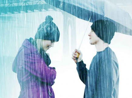 "Penny (Claire Holt) and Don (Marshall Allman) share an umbrella in ""Blue Like Jazz."" – www.bluelikejazzthemovie.com"