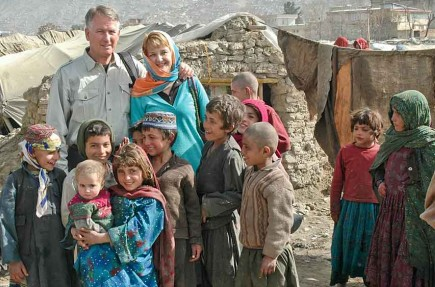 John and Jan Bradley visit children in a refugee camp near Kabul