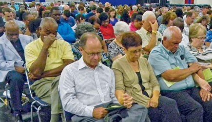 Church members from throughout the Houston area gather to sing