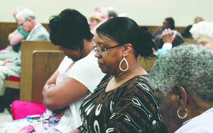 Attendees pray during the 19th annual Calhoun Prayer Enrichment Workshop in Calhoun