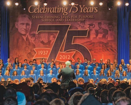 A concert choir performs during the annual Founders Day celebration at Pepperdine University in Malibu