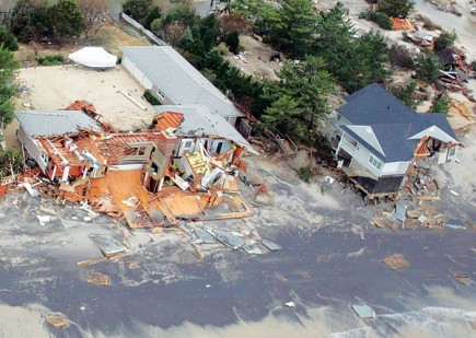 An aerial view during a U.S. Air Force mission shows extensive damage along the New Jersey coast. – PHOTO BY MASTER SGT. MARK C. OLSEN