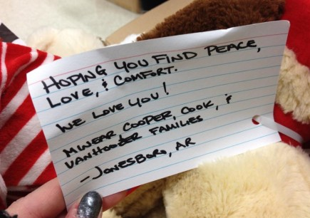 A card attached to one of thousands of teddy bears sent to Connecticut by members of the Southwest Church of Christ in Jonesboro