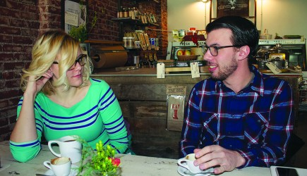 Madison Chandler and Mark Smesrud discuss their work with Purple Door Coffee over -- what else? -- cups of coffee in Denver.