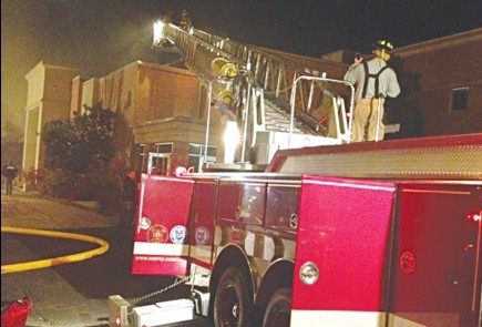 Firefighters respond to a Jan. 19 fire at the College Church of Christ