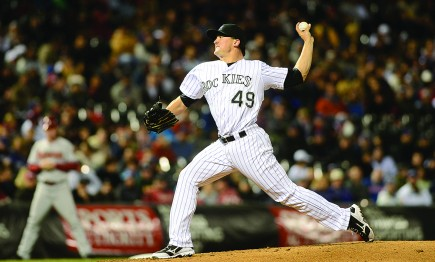 Left-hander Rex Brothers throws a strike for the Colorado Rockies.