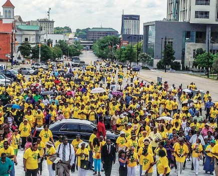Participants in the 2013 Crusade for Christ march to the Alabama State Capitol in Montgomery