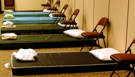 Beds in the fellowship hall of the Hillsboro church in Nashville
