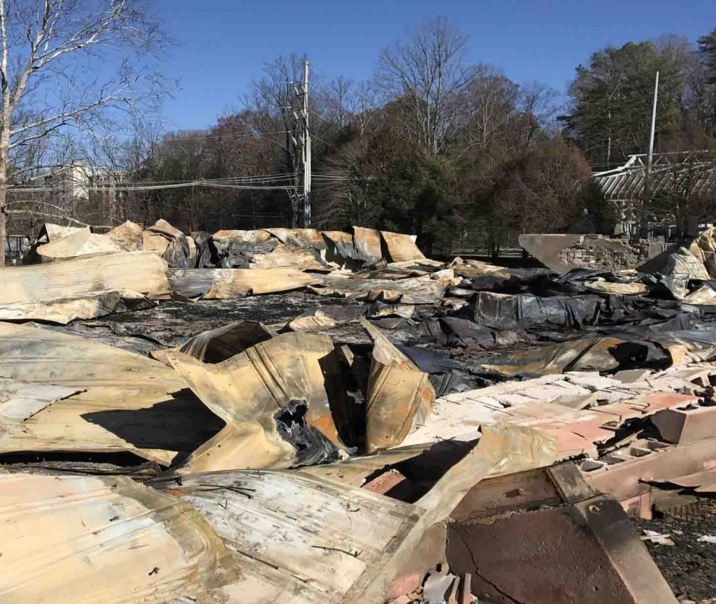 The Gatlinburg Church of Christ was destroyed by wildfire