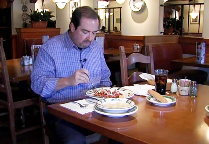 Alan Martin makes one of his 100-plus visits to Olive Garden in the past six weeks.