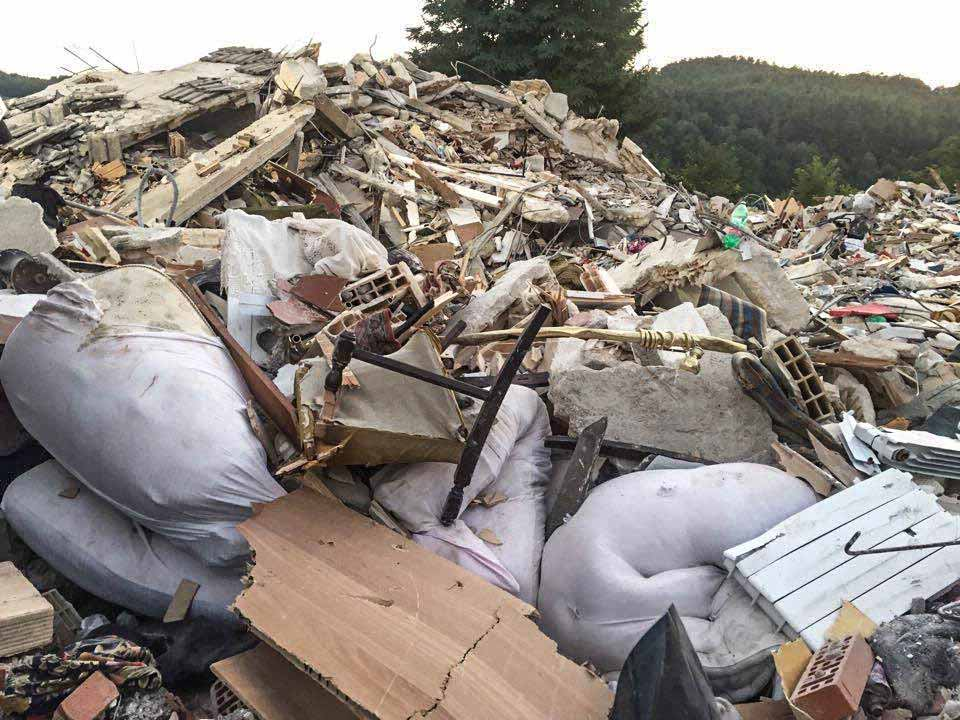 A pile of debris following a 6.2-magnitude earthquake and a series of aftershocks that caused widespread damage in central Italy.