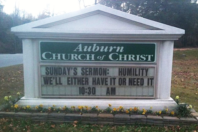 The Auburn Church of Christ in Alabama promises to preach humility — win or lose — after Saturday's Iron Bowl.