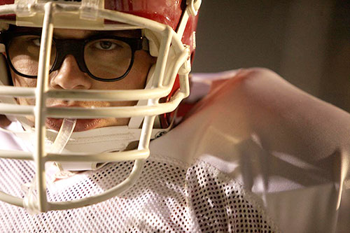 "Chris Severio portrays offensive lineman Brandon Burlsworth in ""Greater."""