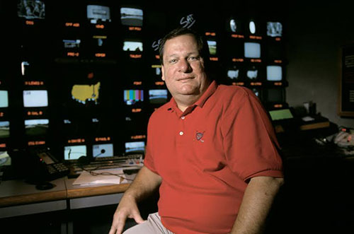 Abilene Christian University alumnus Lance Barrow at work in the production truck for the Masters golf tournament. Barrow