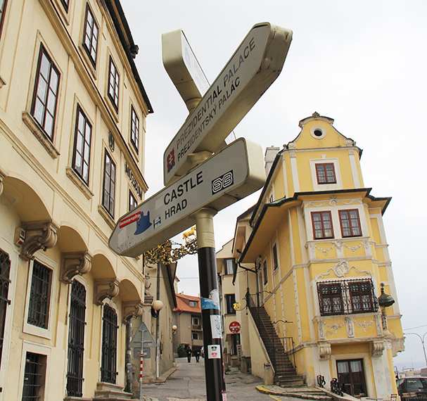 A sign in Bratislava's historic district.